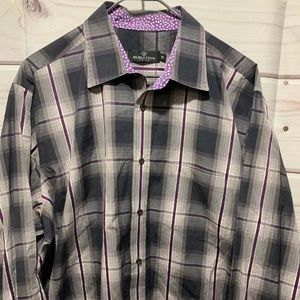 Bugatchi  XL gray purple button front shirt  233a